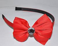 Обруч для волос - тканевый бантик с камнем (12 шт), фото 1