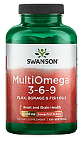 Omega 3-6-9, Swanson, MultiOmega 3-6-9, Flax Borage Fish Oil, Омега 3-6-9