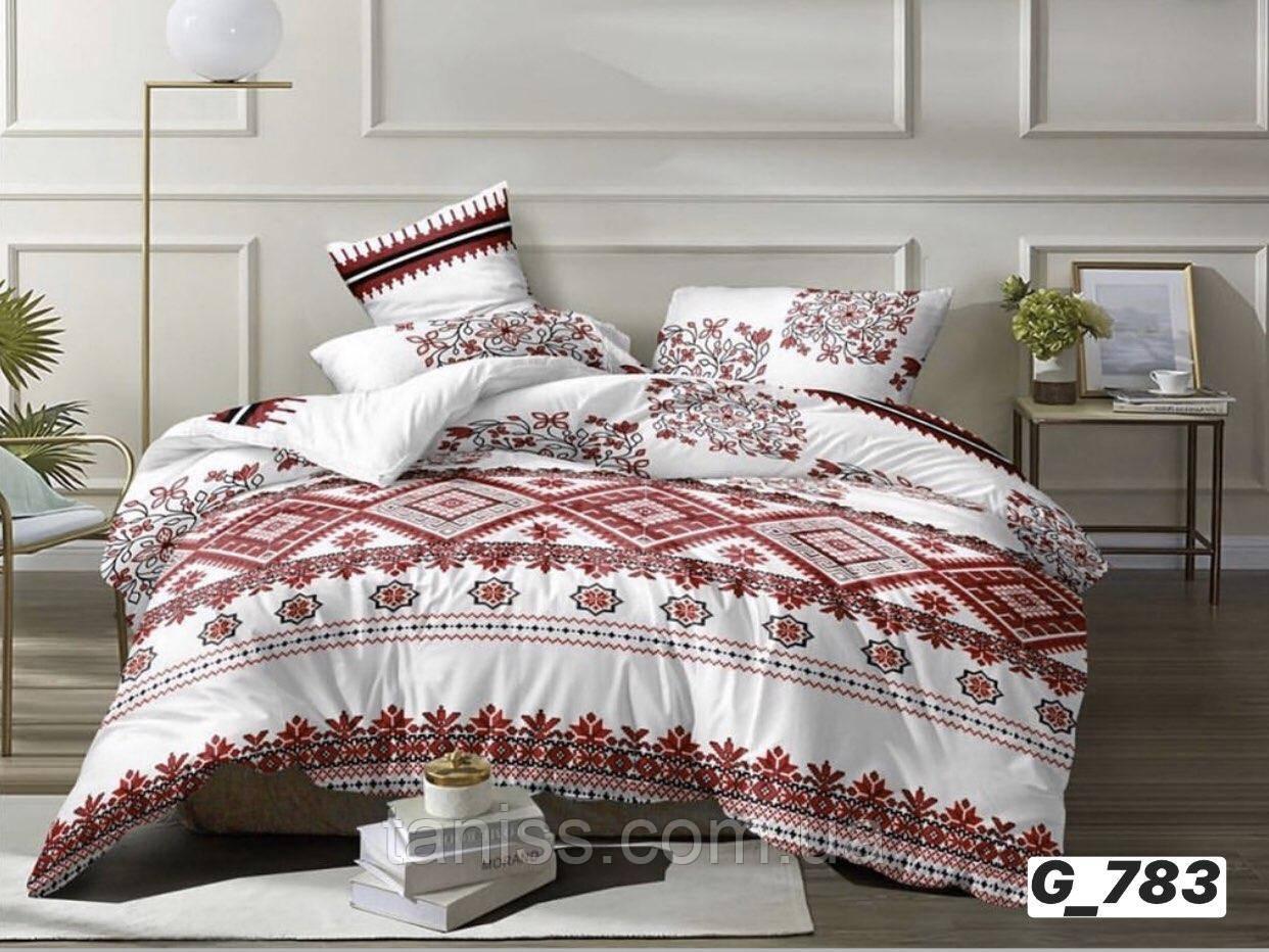"""Полуторный набор постельного белья Бязь """"Gold"""", белый с красным, украиночка  (783)"""