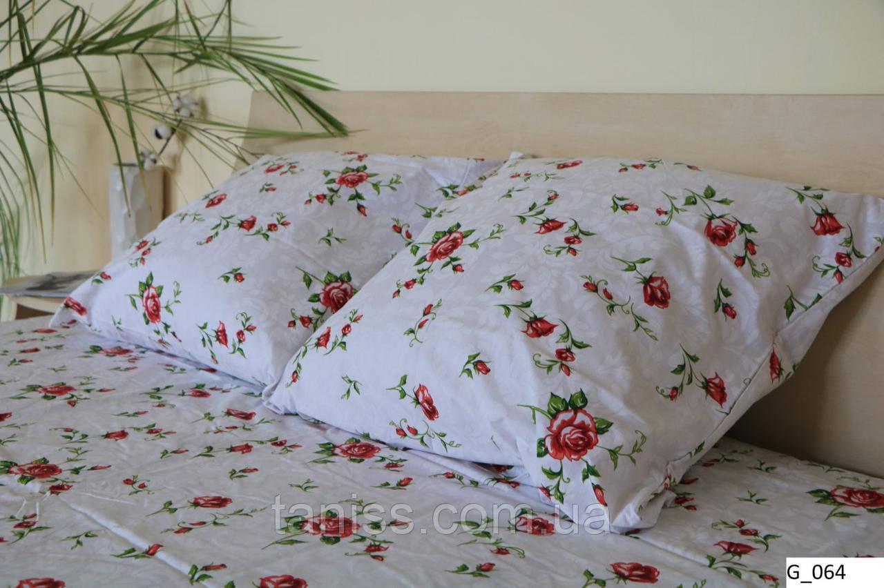 """Двухспальный набор постельного белья Бязь """"Gold"""",  белый , мелкие розы  (064)"""
