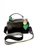 Кожаная женская сумка Polina&Eiterou 16х25 см Черная (01071)