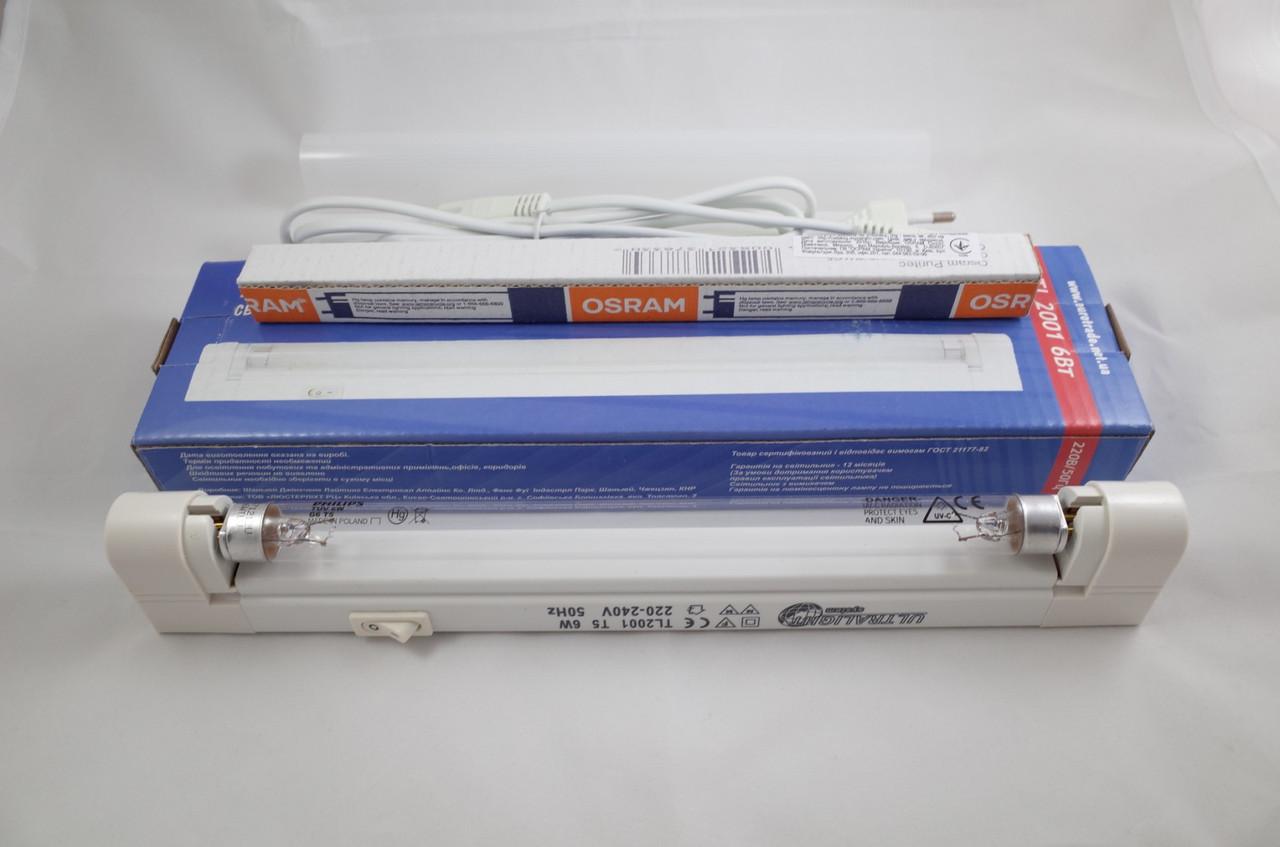Бактерицидная лампа кварцевая (без озона) Osram PURITEC HNS 6w T5 + светильник