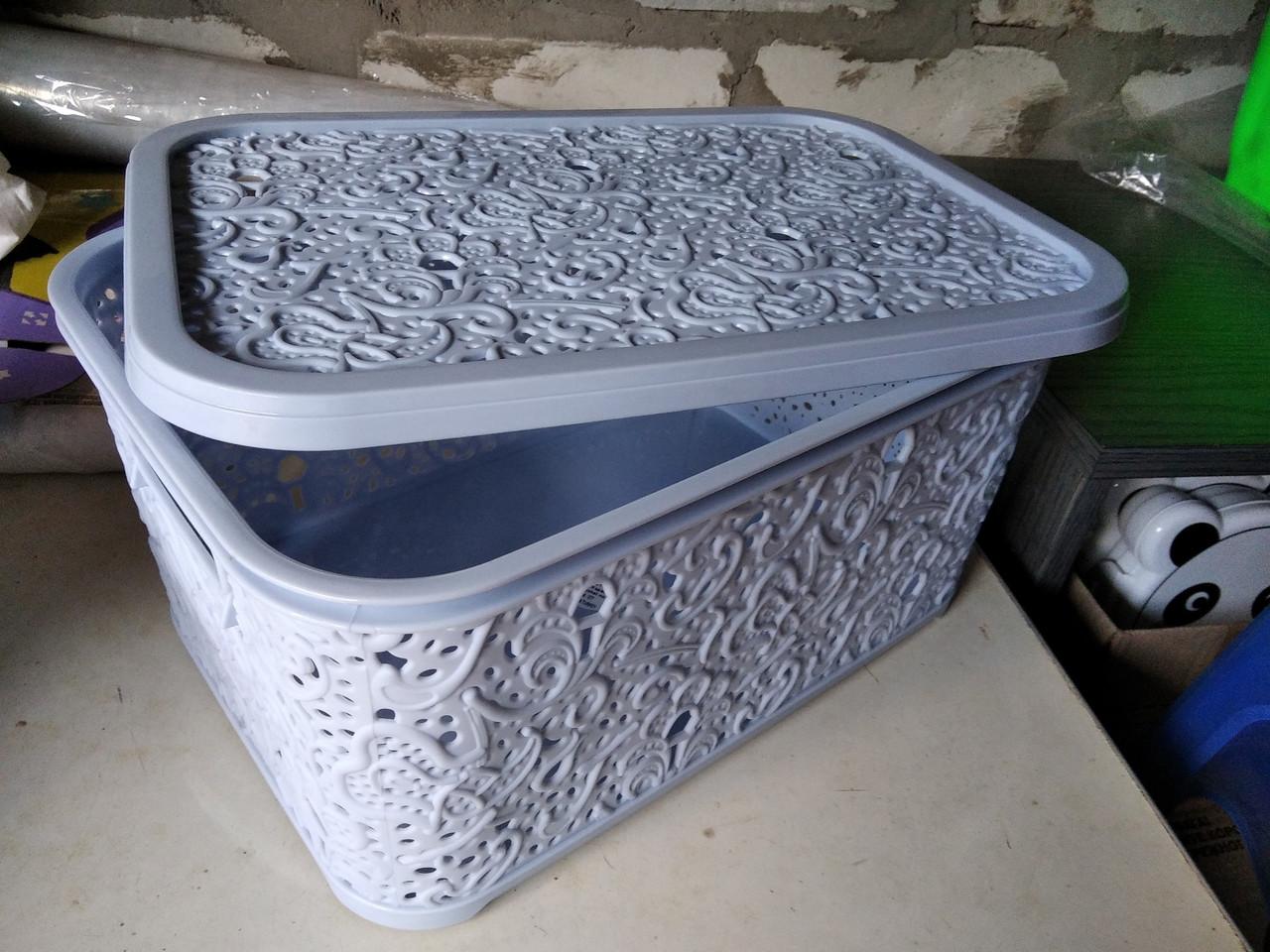 Корзина Ажур с крышкой 10 л для хранения Elif Турция голубой