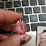 Красивое кольцо жеода агата в позолоте. Кольцо с жеодой агата 18 размер Индия!, фото 3