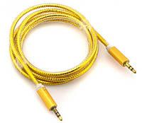 AUX кабель 3.5mm c металлическим штекером 1.5m Золотой