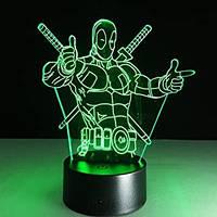 """Светильник-ночник 3D Лампа """"Deadpool""""  7 цветов + пульт, фото 1"""