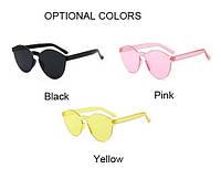 Модные, винтажные, солнцезащитные пластиковые очки без оправ (желтые, черные), фото 1