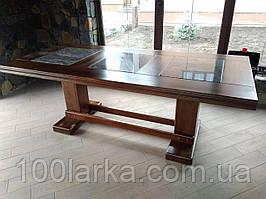 Деревянный стол с каменной столешницей. в беседку.