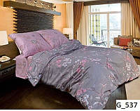 """Евро комплект постельного белья Бязь """"Gold"""", серый-розовый, нежные цветы (537)"""