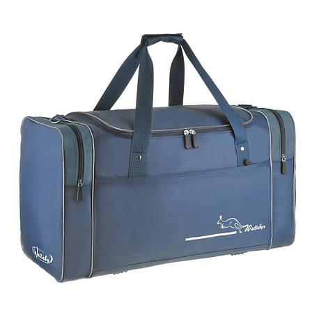 Велика дорожня сумка Wallaby 63х36х27 синій нейлон 420Д на ПВХ основі 430син сер, фото 2