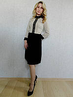 Нарядное женское платье делового стиля с юбкой плиссе, бежево-черное, офисное, коктейльное, стильное