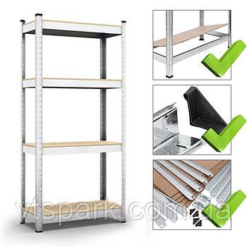 Стеллаж полочный 1600х800х300мм, 150кг, 4 полок с ДСП/МДФ оцинкованный для дома, балкона, кладовки
