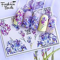 Декор для маникюра Fashion Nails водный цветной 3D слайдер-дизайн цветы (3D/90)