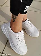 Кожаные белые кеды на шнуровке 36-40 р белый, фото 1