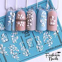 Декор для маникюра Fashion Nails водный цветной 3D слайдер-дизайн цветы (3D/96)