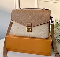 Louis Vuitton Monogram Empreinte Leather Pochette Metis Bag Apricot/Off-white M44300