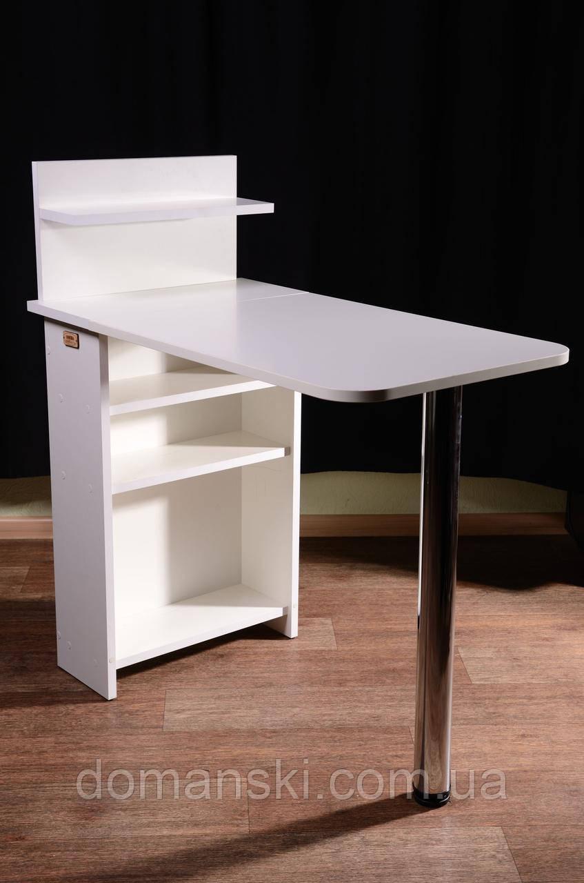 Маникюрный стол складной стандарт с полкой для лаков