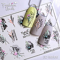 Декор для маникюра Fashion Nails водный цветной 3D слайдер-дизайн цветы (3D/111)