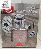 Набір для ванної кімнати 4 в 1 пудра (кришка, йоршик для унітазу, відро і тримач для туалетного паперу), фото 7