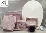 Набір для ванної кімнати 4 в 1 пудра (кришка, йоршик для унітазу, відро і тримач для туалетного паперу), фото 4