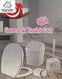 Набір для ванної кімнати 4 в 1 пудра (кришка, йоршик для унітазу, відро і тримач для туалетного паперу), фото 6
