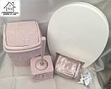 Набір для ванної кімнати 4 в 1 пудра (кришка, йоршик для унітазу, відро і тримач для туалетного паперу), фото 5