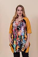 Жіноча літня туніка з квітковим принтом великого розміру. Туреччина. Розміри 52, 54, 56, 58. ОПТ І РОЗДРІБ, фото 1
