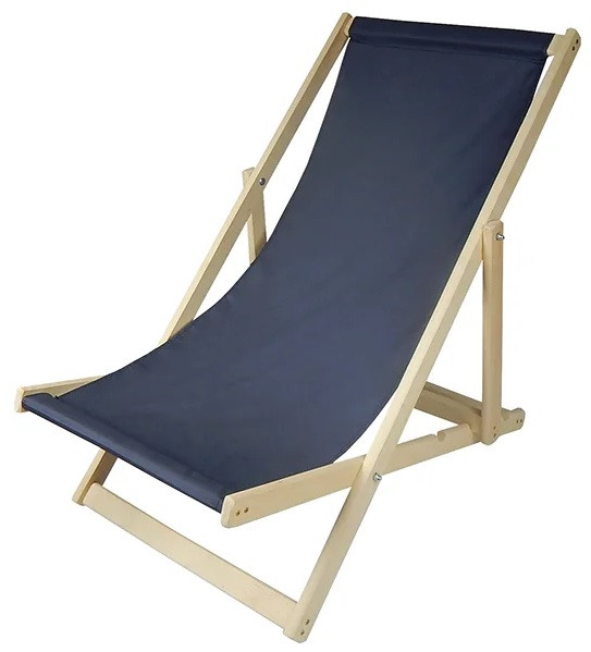 Складной лежак садовый пляжный дачный из бука или дуба темно-синего цвета