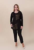 Женская блуза черного цвета с леопардовым принтом батал. Турция. Размеры 52, 54, 56, 58. Хмельницкий, фото 1