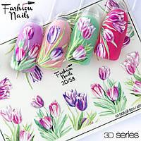 Декор для маникюра Fashion Nails водный цветной 3D слайдер-дизайн цветы (3D/58)