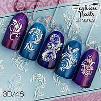 Декор для маникюра Fashion Nails водный цветной 3D слайдер-дизайн цветы (3D/48)