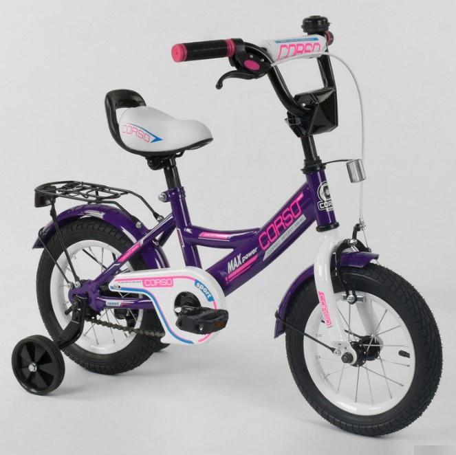 Велосипед детский двухколесный 12 фиолетовый Corso CL-12D0485