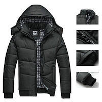 Черная мужская куртка. Теплая куртка с капюшоном., фото 1