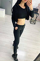 Костюм женский спортивный, прогулочный, тройка, черный, хаки, бежевый, серый, 42, 44, 46