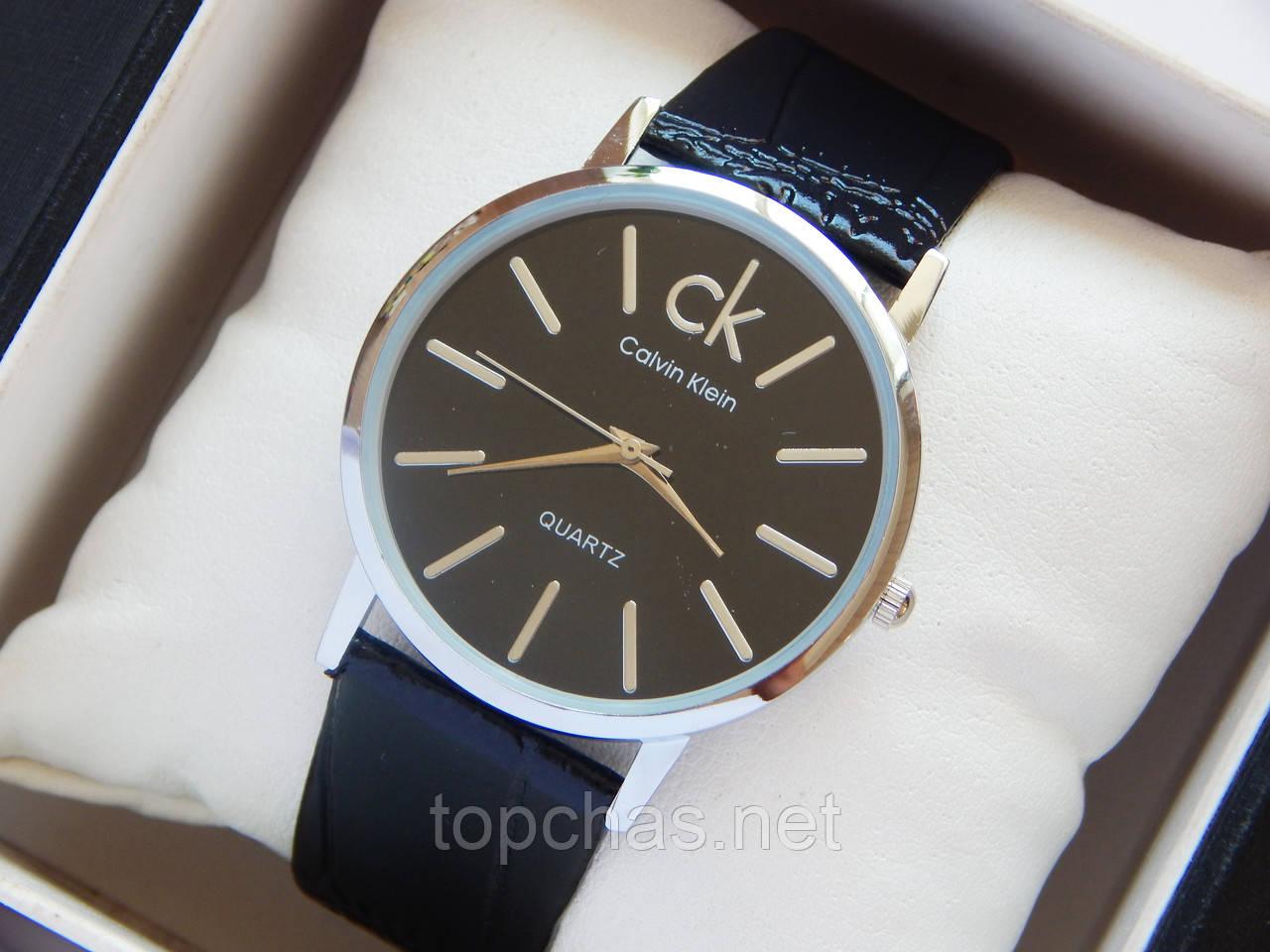 2580c03ef319a Мужские (Женские) кварцевые наручные часы Calvin Klein на кожаном ремешке -  Top Chas -