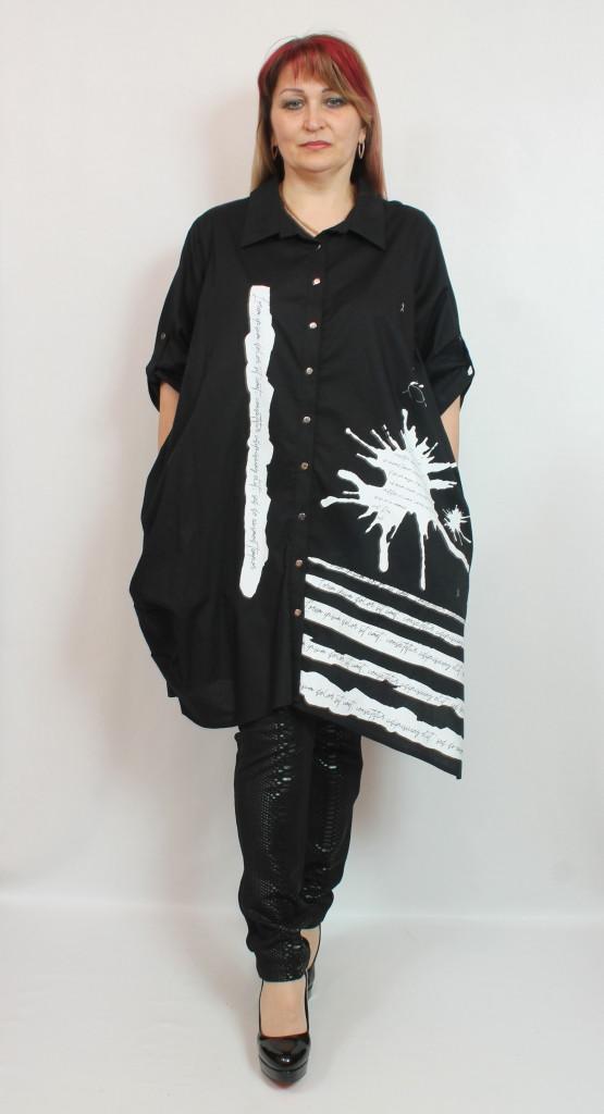 Турецкая женская удлиненная рубашка больших размеров 52-62