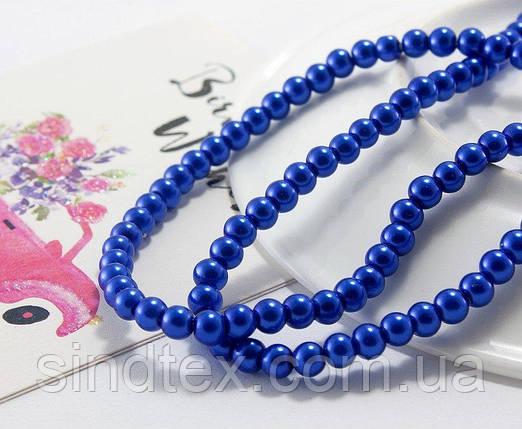 Жемчуг стеклянный  Ø4мм, упаковка  150 шт, цвет - Синий (сп7нг-1019), фото 2