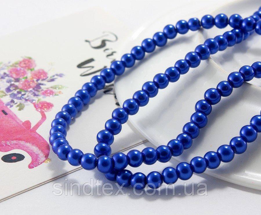 Жемчуг стеклянный  Ø4мм, упаковка  150 шт, цвет - Синий (сп7нг-1019)