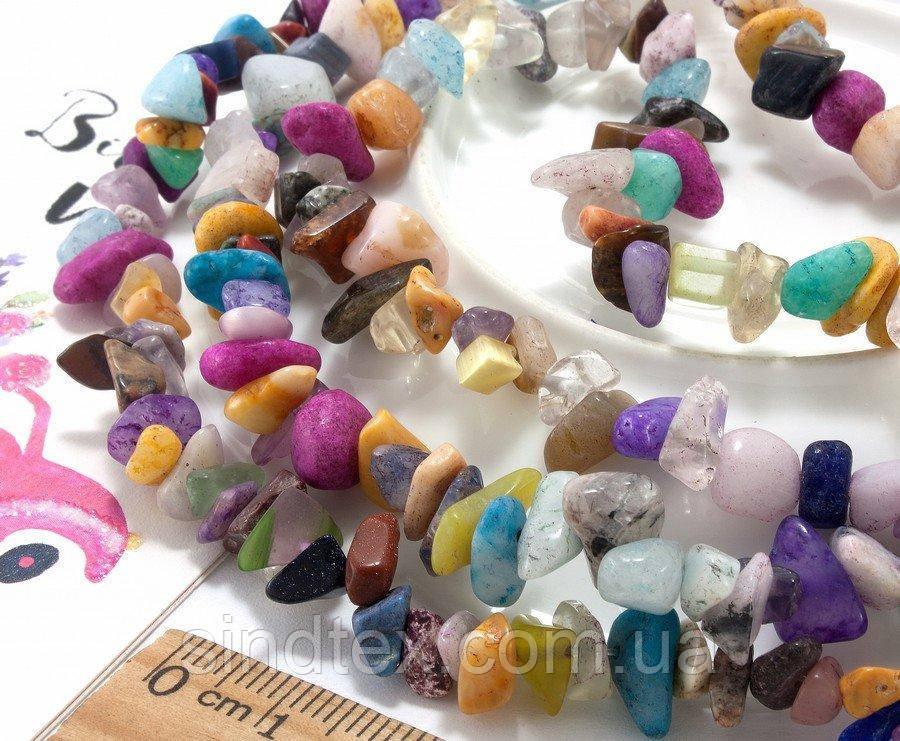 """Крошка (сколы) из натурального камня """"Микс камней"""" (без замочка!) длина 85см (сп7нг-2774)"""