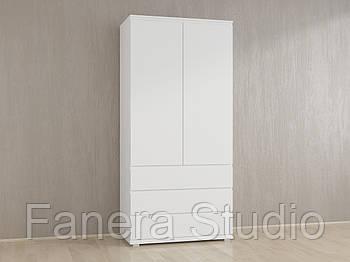 Шкаф для одежды со штангой без ручек и тремя ящиками из ДСП