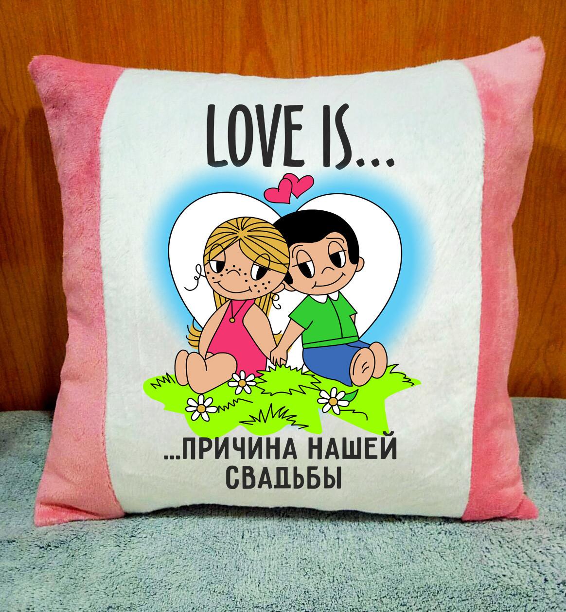 Декоративная подушка с принтом. Подарок на годовщину свадьбы