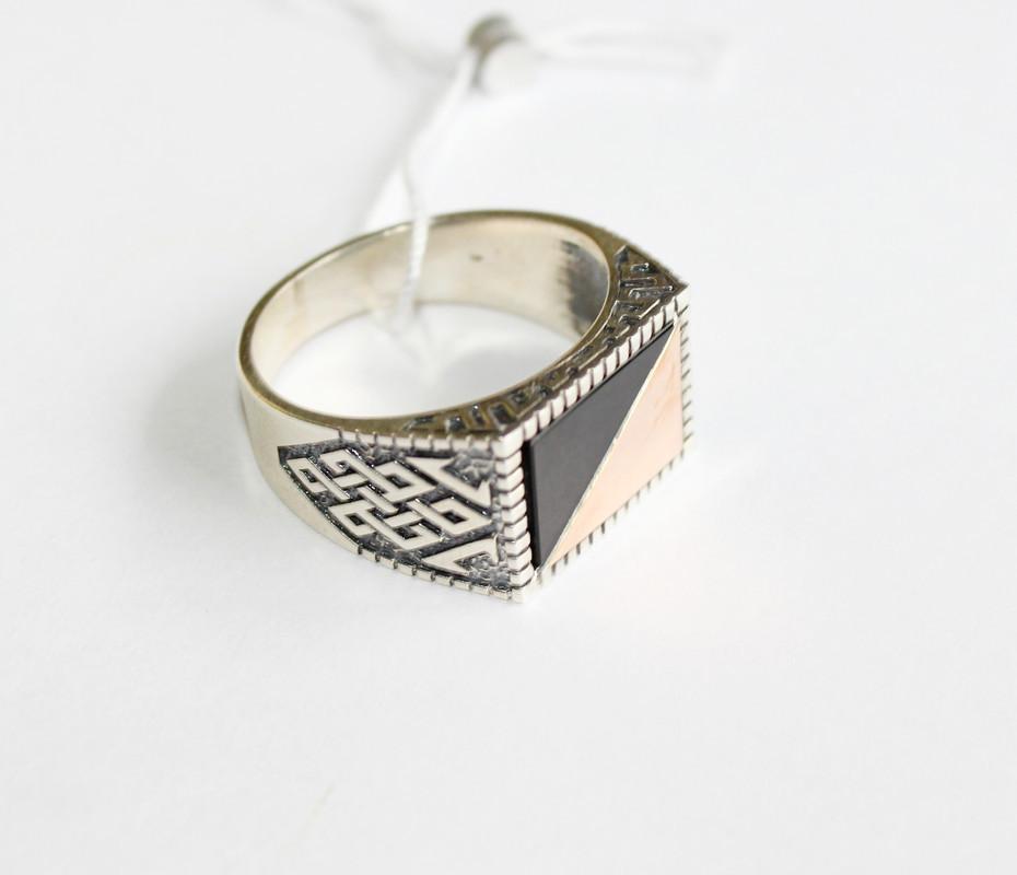 Печатка из серебра с обсидиана Бенедикт