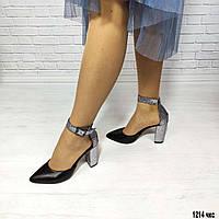 Кожаные женские закрытые босоножки c серебристым каблуком