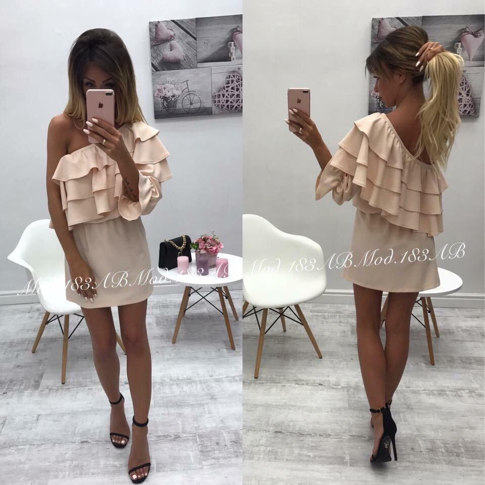Красивое платье с открытым одним плечом , р-р. 42-44,44-46 Код А-183З