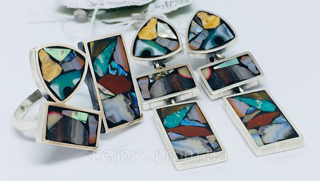 Комплект з натуральної мозаїкою срібло Арт Деко