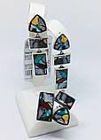 Комплект з натуральної мозаїкою срібло Арт Деко, фото 4