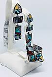 Комплект з натуральної мозаїкою срібло Арт Деко, фото 6