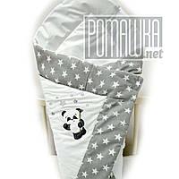 Летний конверт одеяло плед 75*75 на детский на выписку новорожденных из роддома тонкий лето 3077 Серый 4