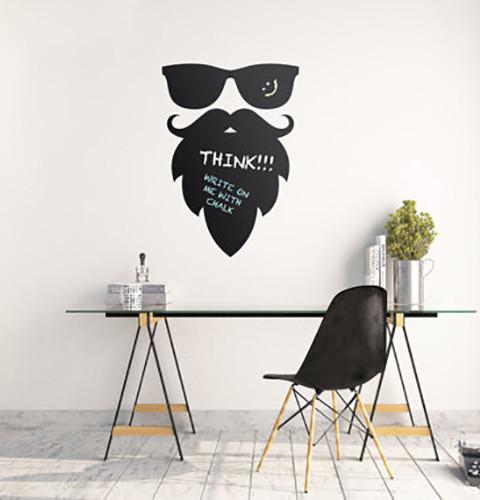 Наклейка для рисования мелом Школьная доска Бородач (смайлик, хипстер, очки и борода)