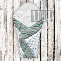 Летний конверт одеяло плед 75*75 на детский на выписку новорожденных из роддома тонкий лето 3077 Серый 5
